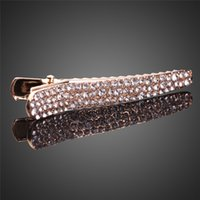 Wholesale Styling Tools Hair Clips New Fashion Hot Sale Hair Styling Tools Women Gold Plated White Rhinestone Bobby Pin Hair Clip