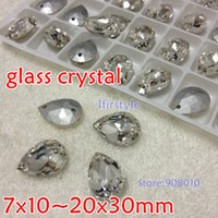 Wholesale 10x14mm x18mm x25mm x30mm Teardrop Sew on Stone Crystal Color Pear Droplet Pointback Sew On Rhinestones holes