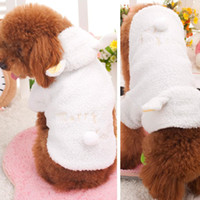 Wholesale Freeshipping Pet Puppy Dog Clothes Cute White Sheep Warm Hoodie Coat Apparel XS S M L XL for dogs