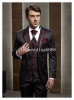 Wholesale Custom Made Notch Lapel Two Buttons Brown Groom Tuxedos Suit Men s suits Jacket Pants Tie Vest