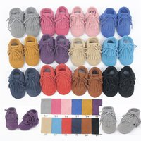 Wholesale Solid Color Baby moccasins soft sole genuine leather first walker shoes baby leather newborn shoes Tassels maccasions boot bootie A078