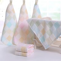 Wholesale Hot Selling Baby Bathroom Hand Towels Plaid Cotton Small Square Shaped Towels Home Textile CM JQ0008 salebags