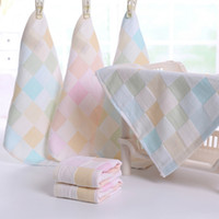 Wholesale New Baby Bathroom Hand Towels Plaid Cotton Small Square Shaped Towels Home Textile CM JQ0008 salebags