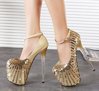 20cm high heels - 20CM high heel women gold glitter shoes pumps shoes woman sexy high heeled high platform fetish shoes size US