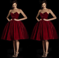 Wholesale 2016 New sweetheart quinceanera ball gown tea length burgundy cocktail dresses velvet short prom party dress plus size cocktail gowns BO9350