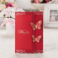 Wholesale Double Butterfly Wedding Invitations Elegant Laser Cutting Bridal Invitation Cards with Envelopes As Wedding Favors