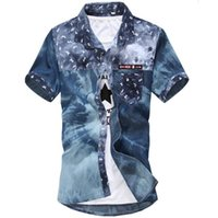 Wholesale plus size casual floral shirts rose men fashion denim shirts v neck chemise homme slim fit Short sleeve shirt