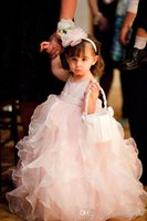 Wholesale Fancy Design Hottest Selling New Fashion Jewel Ankle Length Ruffles Baby Pink Organza Cute Ball Gown Little Kids Lovely Flower Girl Dresses