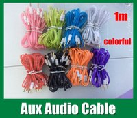 Wholesale Male To Male Aux mm Audio Cable For Car audio cable with clear edge half transparent white head fit cellphone ipad mini CAB037