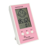 baby hygrometer - Baby Face Lcd Digital Wireless Thermometer Hygrometer Temperature Humidity Meter Electronic Clock INS_305