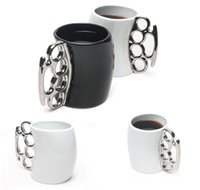 Wholesale Fisticup Brass Knuckle Duster Handle Coffee Milk Ceramic Mug Cup Fist Cup Gift ES88