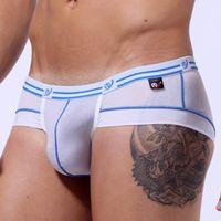 Wholesale New gift Hot Sale Fashion Fashion Sexy Men Low Rise Briefs Bikini Thongs Splice Underwear Shorts M XL WSH003