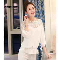 Cheap 2015 verao blusa ocasional das mulheres chiffon blusa de renda versao solta costura rendas manga longa blusa feminina camisa