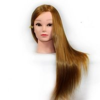 Wholesale Blonde quot Cosmetology Real Human Hair Training Mannequin DOLL HEAD Holder hairdressing dolls head Beauty