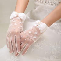 Wholesale 2015 Hot Sale White Bridal Gloves with Beading Cute Sheer Transparent Glove Wedding Mittens High Quality Full Finger Wedding Gloves