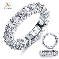 Wholesale Oval Cut Eternity Ct Solid Sterling Silver Wedding Ring Band Jewelry Created Diamond CFR8069