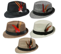 Wholesale Spring Mens Fedoras - New Summer Trilby Fedora Hats Straw with Feather for Mens Fashion Jazz Panama Beach hat 10pcs lot