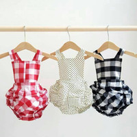onesies - NEW ARRIVAL baby girl kids Korean infant toddler one piece jumper onesies strap halter romper bloomers cotton bowknot belt checker pants