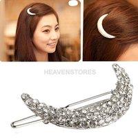 Wholesale Crystal Moon Rhinestone Hair Clip Bang Clip Headdress Hairpin Clamps New hv3n