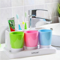 household items - A Family of three wash cup Toothbrush Holder toothpaste holder household items