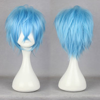 Wholesale Karneval Karoku High Grade cm Short Light Blue Man Party Wig