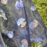 Wholesale Dress Fabric Organza Blue Printing Jellyfish Ice yarn for Wedding Dresses Evening Gown Vestidos m BLL008