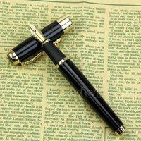Wholesale U118 Jinhao Black KGP Fountain Pen Gold Dragon Medium Nib New Black gold silver