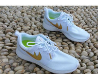 Wholesale 2015 Roshe Run Casual Shoes White Black Gold Women Men Running Shoes Cheap Roshes Run Sport Trainers Size