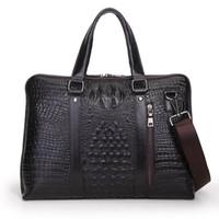 alligator heads - Head Layer Cowhide Alligator grain Mens Bag Genuine Leather Briefcase Handbag Men Shoulder Bag Laptop Bag