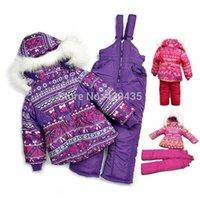 Wholesale Child outdoor snow set Kid s Warm Windproof Set COLORS New Design Winter children ski suits girl s ski jackets pants vest