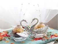 Cheap Acrylic Silver Swan Wedding Favor Box Best swan wedding
