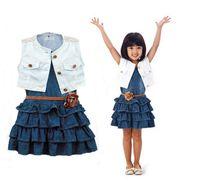 Cheap 2015 summer children outfits girls sleeveless shawl+tiered falbala denim vest dress 2pcs sets kids clothes A6089
