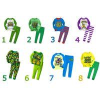 Wholesale spring teenage Mutant Ninja Turtles children s clothing boys set Pijamas Baby Clothing Kids Sleepwear cotton shirt suit Set