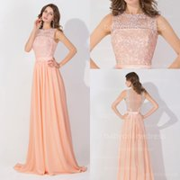 apple peaches - Peach Pink Long High Neck Cheap Prom Dresses Lace Real Image Backless Sheer Long Evening Gowns In Stock Bridesmaid Dress BZP0530