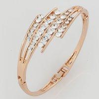 bar hinges - Fashion Bracelet High Quality Rose Gold Plated K Gold Plated Bracelet Crystal Hinged Bangle Bracelet for Women Gifts
