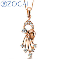 banjo gifts - ZOCAI Love s Banjo CT Certified Diamond Pendant Solid K Rose Gold Au750 Sterling Chain as Gift