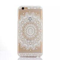 Caso pintado del patrón de flor de la alheña floral blanco Paisley mandala de la flor cubierta del caso plástico para el iPhone 4 4S 5 5S 5C 6 6 Plus
