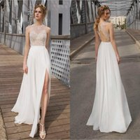 Wholesale 2015 Summer Side Slit Wedding Dresses Sexy Beach Goddness Bridal Gowns with Beading Top Cut Out Back Ivory Chiffon Skirt Long Formal Prom
