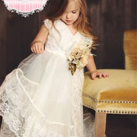 amazing pretty - Amazing Pretty Lace Little Flower Girl Dresses V Neck Tea Length Bridesmaid Ball Gowns Custom Made Common Pageant Dress