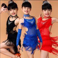 Wholesale New Sequin Kids Fringe Salsa Dress Tassel Child Soft Latin Dresses Girls Latin Dance Costumes XS XL Blue Pink Black Red