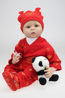 """Wholesale Chinese Toy Sales - 22"""" high quality silicone reborn babies for sale red chinese outfit rooted hair baby alive boy bonecas toys for children"""