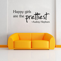 PVC audrey hepburn quotes - HAPPY GIRLS ARE THE PRETTIEST PVC Word Quote Wall Decal Audrey Hepburn Decor Wall stickers lettering