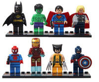 Wholesale DIY Bricks Toys Super Heroes Avengers Iron Man Hulk Batman Wolverine Thor Building Blocks Sets Minifigure without package box