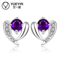 batch sterling silver - 2015 fashion jewelry sterling silver studs earrings for women piercings crystal Tanabata gift Korean jewelry mixed batch fashi
