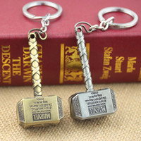 Wholesale Movie jewelry the avengers thor hammer zinc alloy keychain superhero movies accessories boys girls toys children gifts men jewelry key fob
