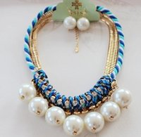 Wholesale Maxi luxury Earrings necklace sets rhinestone pearl Collar shortfor women Statement jewelery Chunky braided rope design Pendants necklace