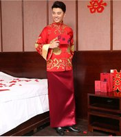 Wholesale NEW Chinese Traditional Bridegroom Clothes Tang Suit Gold Embroidery Ancient Costume Top Grade Groom Wear