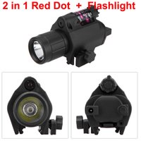 Wholesale 2 in Red Dot Sight Laser Rifle Scope Riflescope Tactical Flashlight Torch Caza Hunting Scopes Optical Sight Riflescopes Y0314