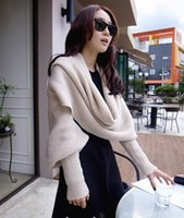 Wholesale Winter explosion models Korean knitted shawl wool shawl scarf couple models even sleeves factory outlets
