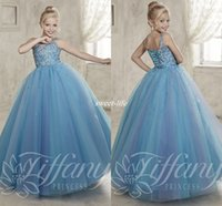 baby slate - Slate Blue Ball Gown Girls Pageant Dresses Glitz Crystal Floor Length Tulle Lace Up Spaghetti Cheap Little Baby Party Flower Girl Dress